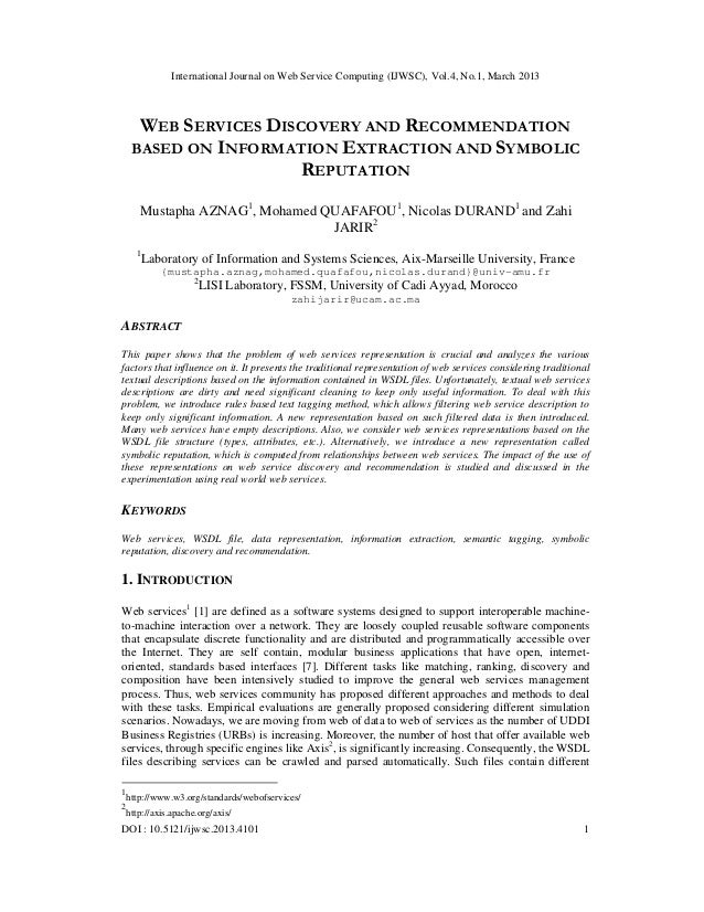 International Journal on Web Service Computing (IJWSC), Vol.4, No.1, March 2013      WEB SERVICES DISCOVERY AND RECOMMENDA...