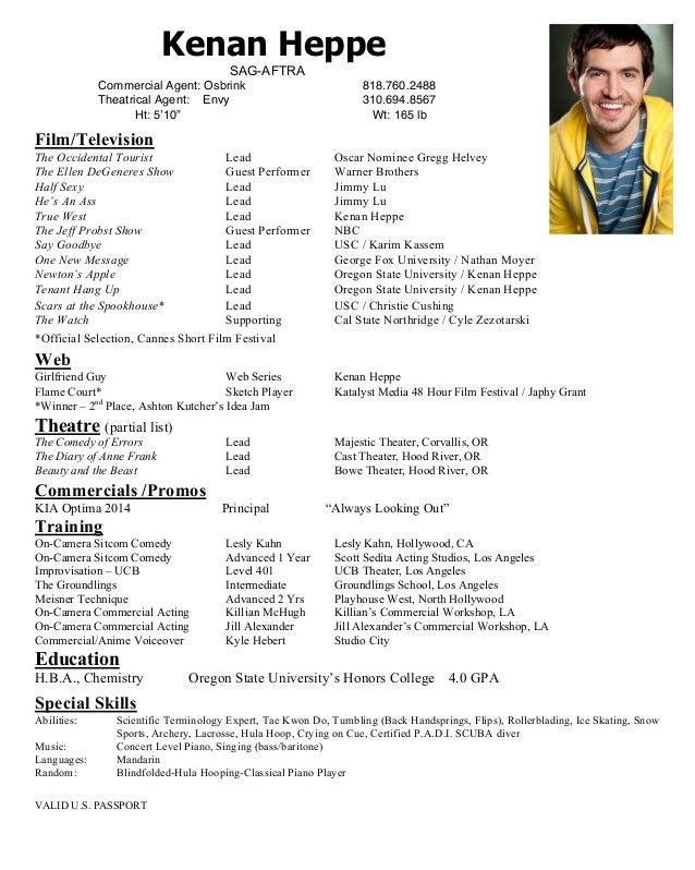 Kenan Heppe Acting Resume. Kenan Heppe SAG AFTRA Commercial Agent: Osbrink  818.760.2488 Theatrical Agent: Envy