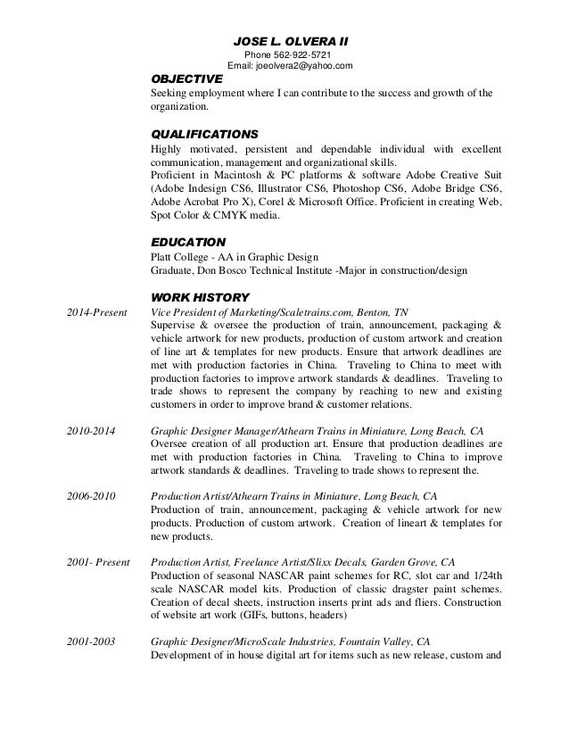 Jose Olvera Graphic Designer Resume