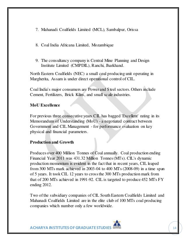 Coal India Project Report
