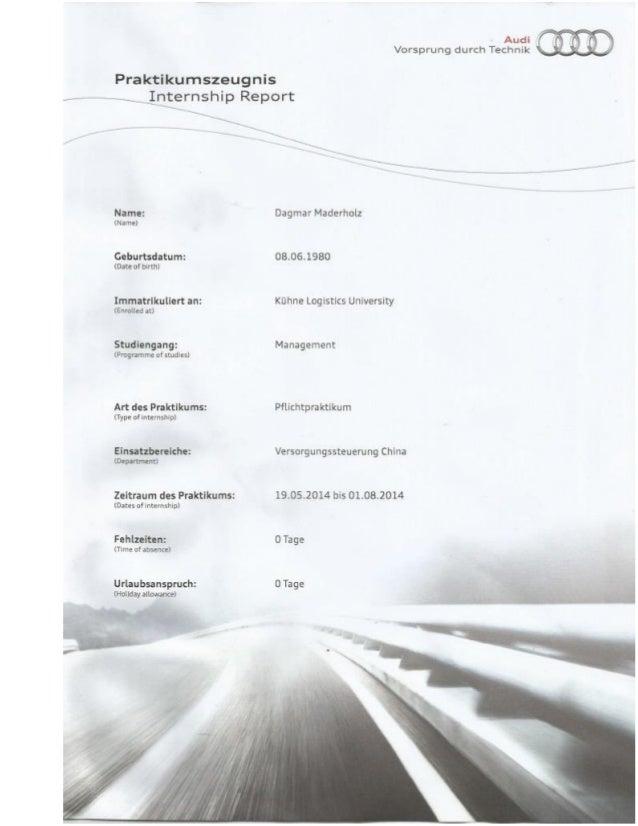 Arbeitszeugnis Audi AG