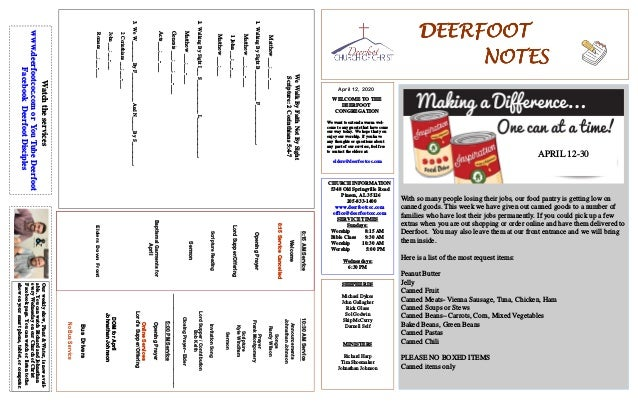 DEERFOOTDEERFOOTDEERFOOTDEERFOOT NOTESNOTESNOTESNOTES April 12, 2020 WELCOME TO THE DEERFOOT CONGREGATION We want to exten...