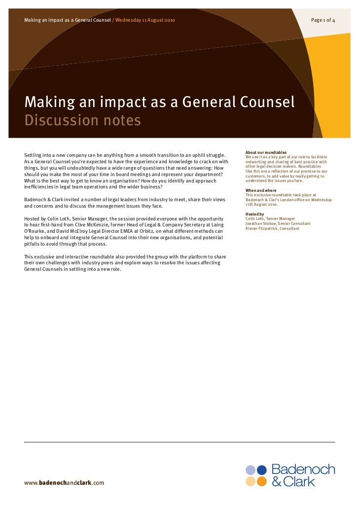Making an impact as a General Counsel / Wednesday 11 August 2010                                                          ...