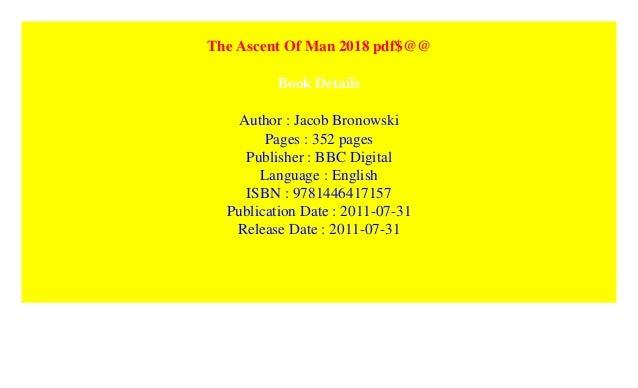 Ascent Of Man Bronowski Pdf