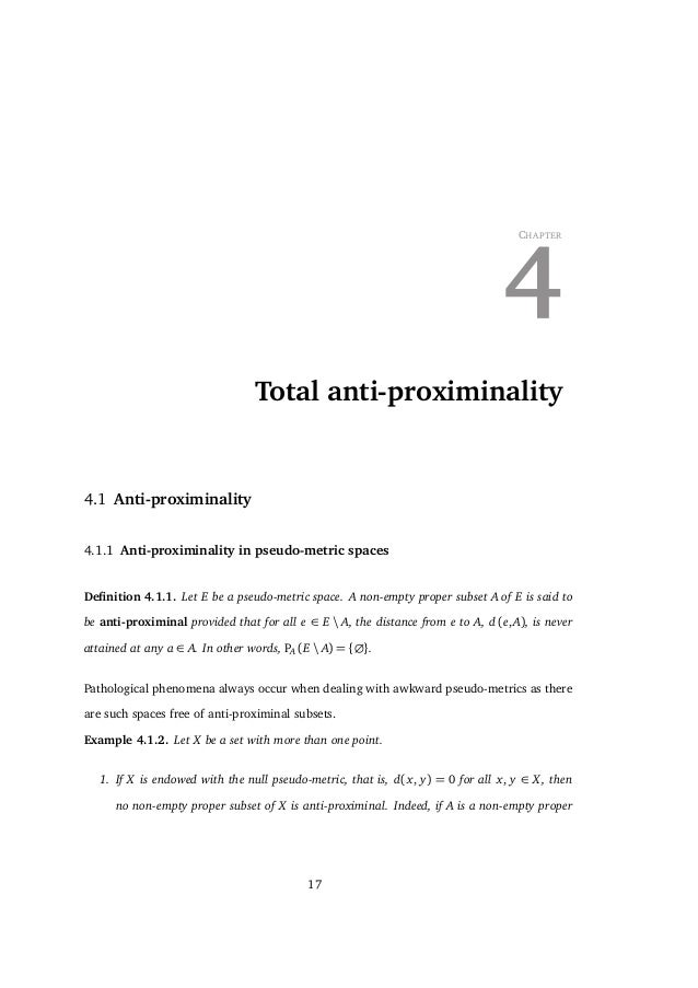 4. TOTAL ANTI-PROXIMINALITY 4.1.4 we deduce that A+ e and λA are both anti-proximinal. In Hilbert spaces, anti-proximinal ...