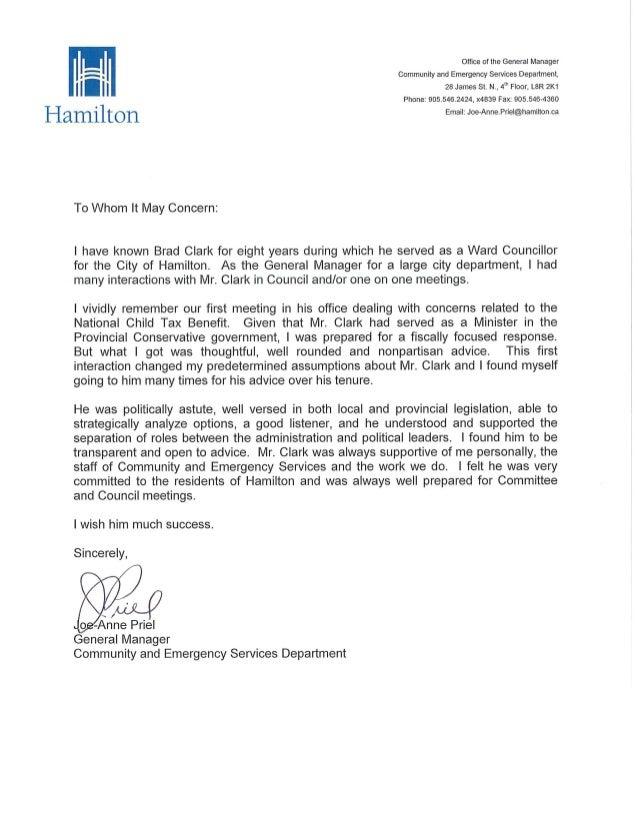 reference letter for brad clark