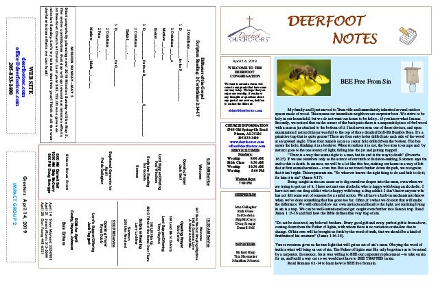 DEERFOOTDEERFOOTDEERFOOTDEERFOOT NOTESNOTESNOTESNOTES April 14, 2019 GreetersApril14,2019 IMPACTGROUP2 WELCOME TO THE DEER...