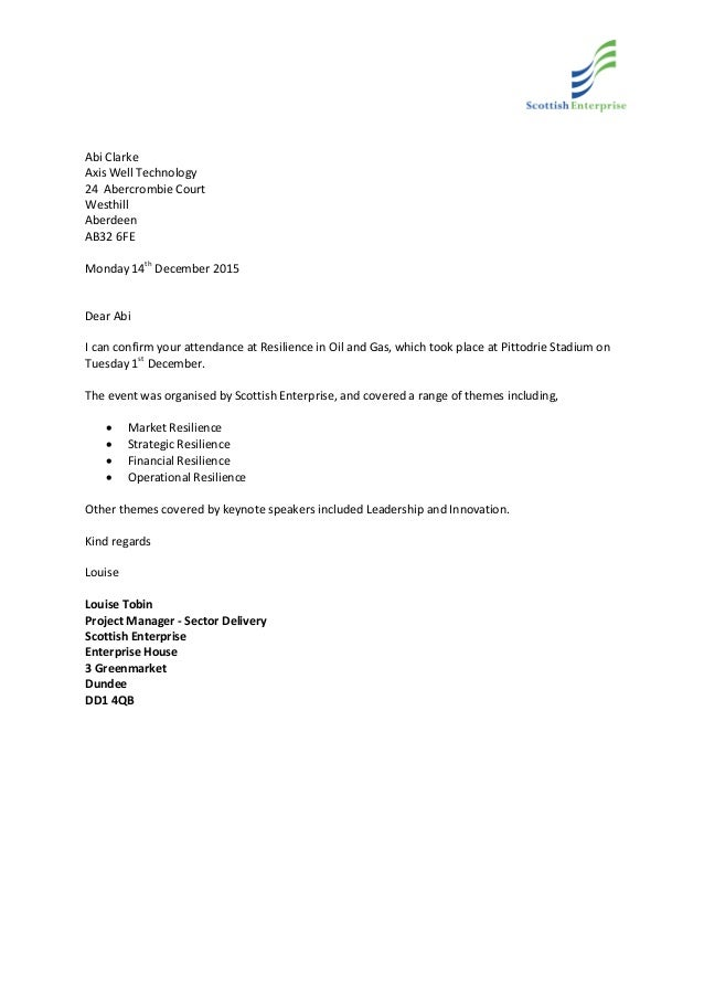 Scottish Enterprise Training Confirmation Letter