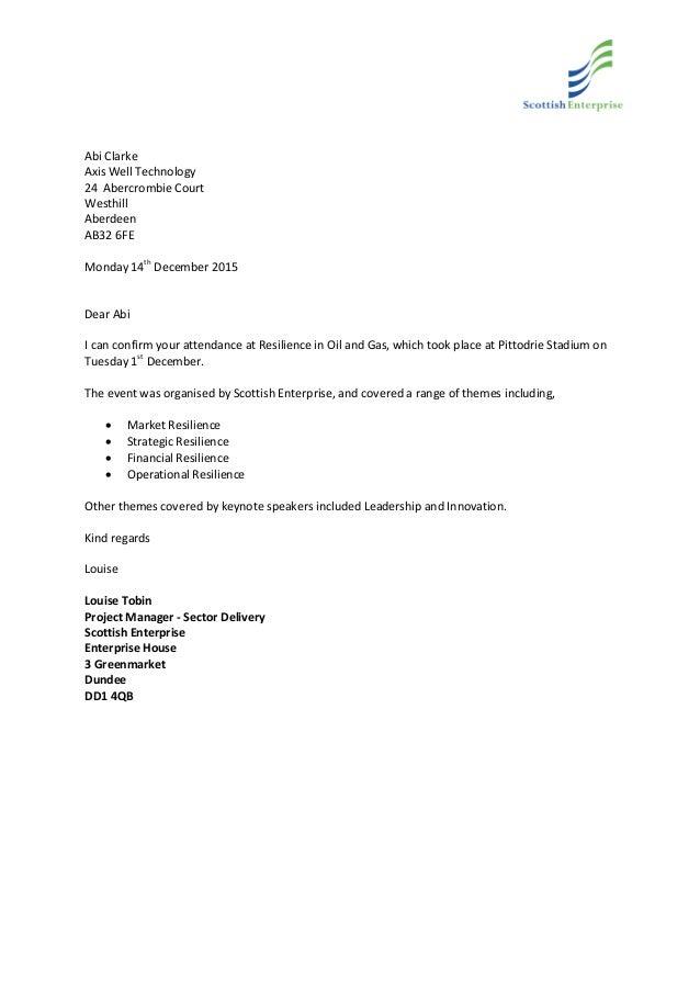 Scottish Enterprise Training Confirmation Letter