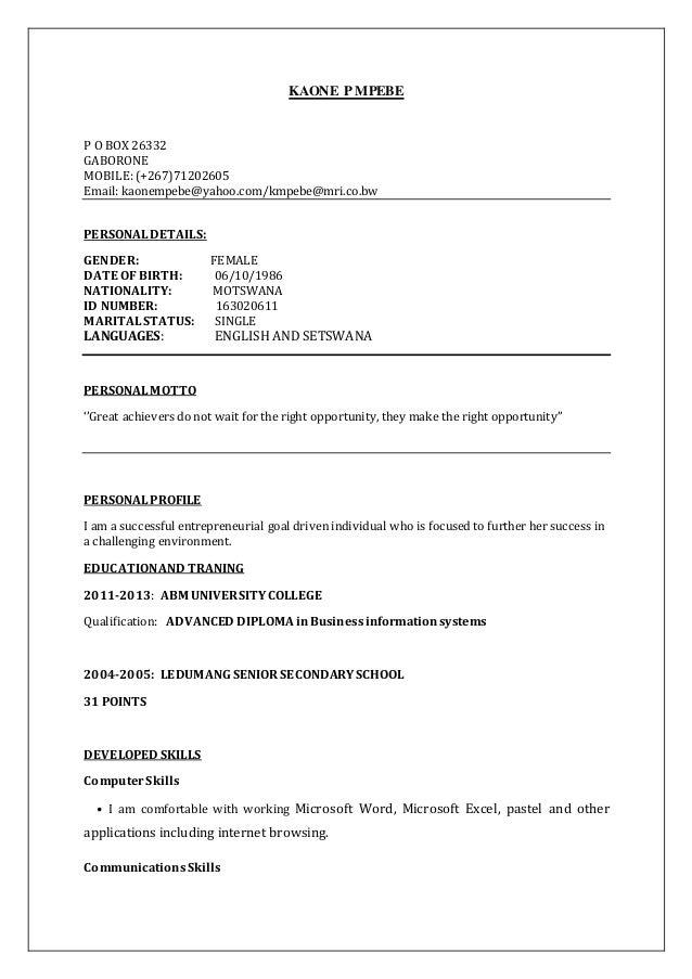 kaone mpebe resume