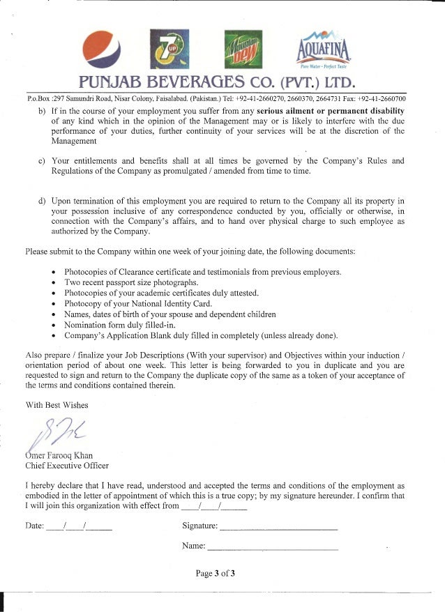 PEPSICO appointment letter