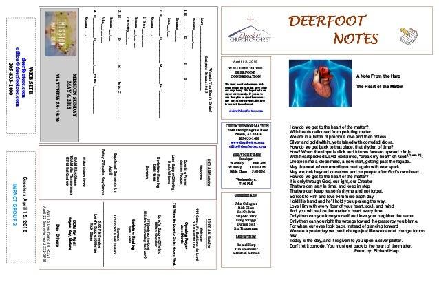 April 15, 2018 GreetersApril15,2018 IMPACTGROUP3 DEERFOOTDEERFOOTDEERFOOTDEERFOOT NOTESNOTESNOTESNOTES WELCOME TO THE DEER...
