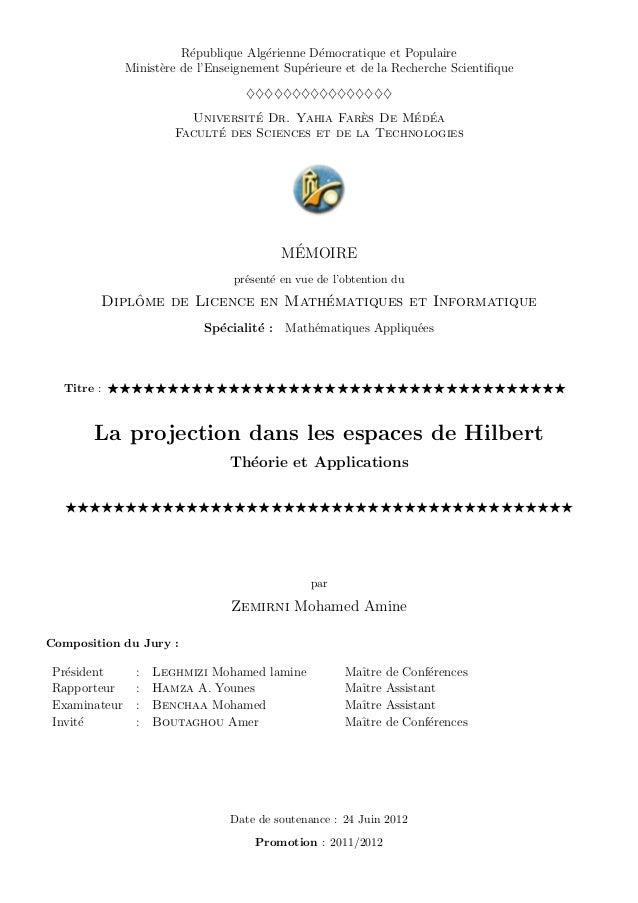 R´epublique Alg´erienne D´emocratique et Populaire Minist`ere de l'Enseignement Sup´erieure et de la Recherche Scientifique...