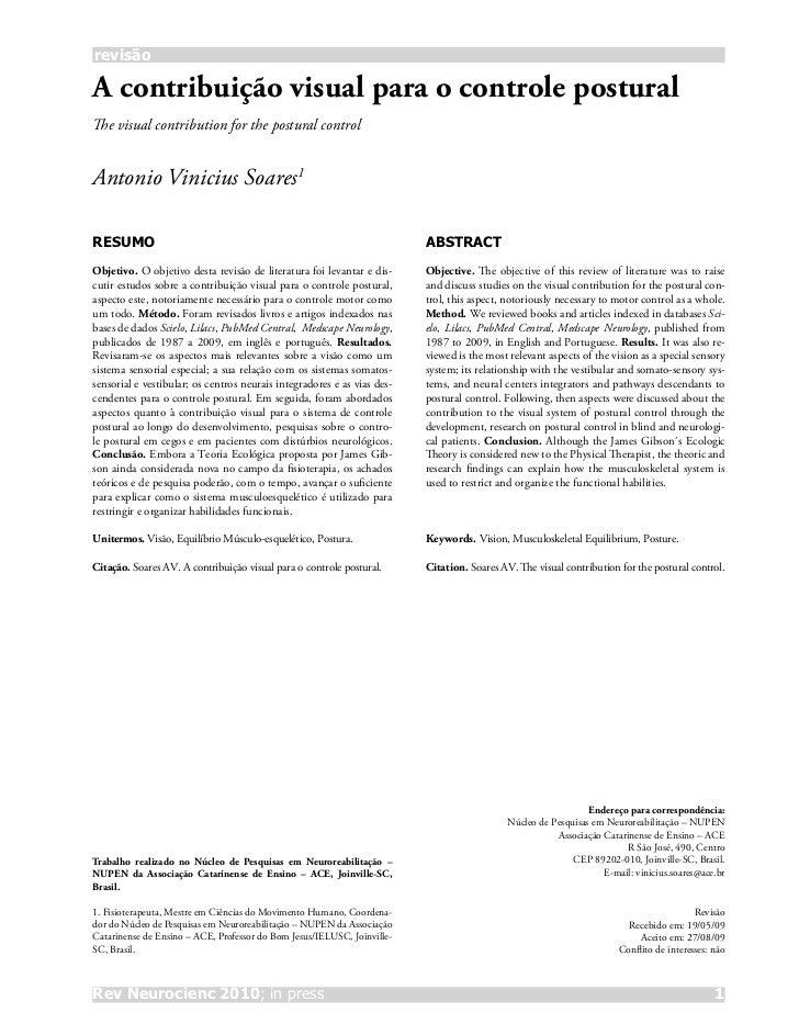 revisãoA contribuição visual para o controle posturalThe visual contribution for the postural controlAntonio Vinicius Soar...