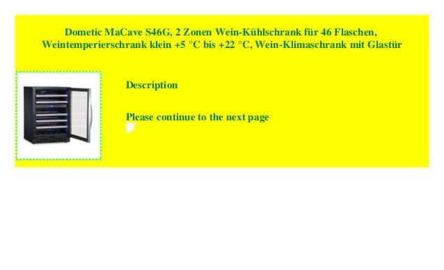 Dometic MaCave S46G, 2 Zonen Wein Kühlschrank Für 46 Flaschen,  Weintemperierschrank Klein +5 °C Bis +22 °C, Wein Klimaschrank Mit Glastür