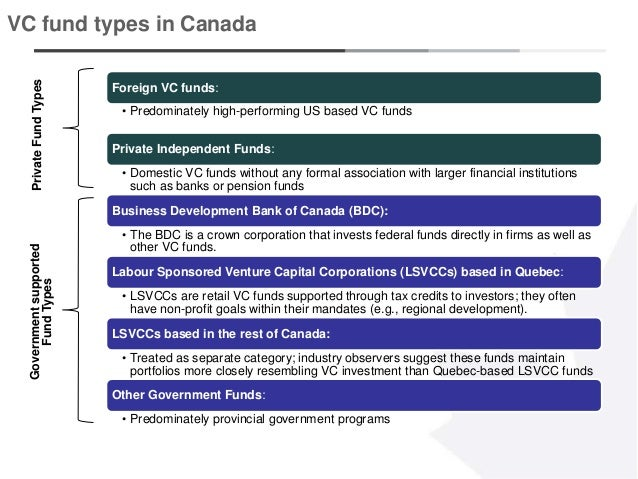 9 VC fund types in Canada Foreign VC funds: • Predominately high-performing US based VC funds Private Independent Funds: •...