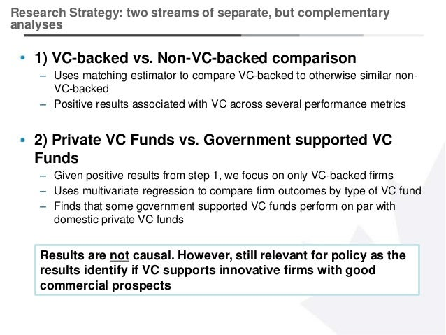 2 1) VC-backed vs. Non-VC-backed comparison – Uses matching estimator to compare VC-backed to otherwise similar non- VC-ba...