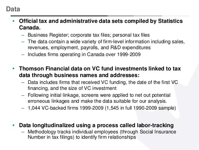 3 Official tax and administrative data sets compiled by Statistics Canada. – Business Register; corporate tax files; perso...