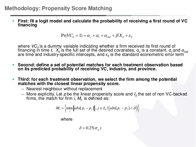 5 Methodology: Propensity Score Matching First: fit a logit model and calculate the probability of receiving a first round...
