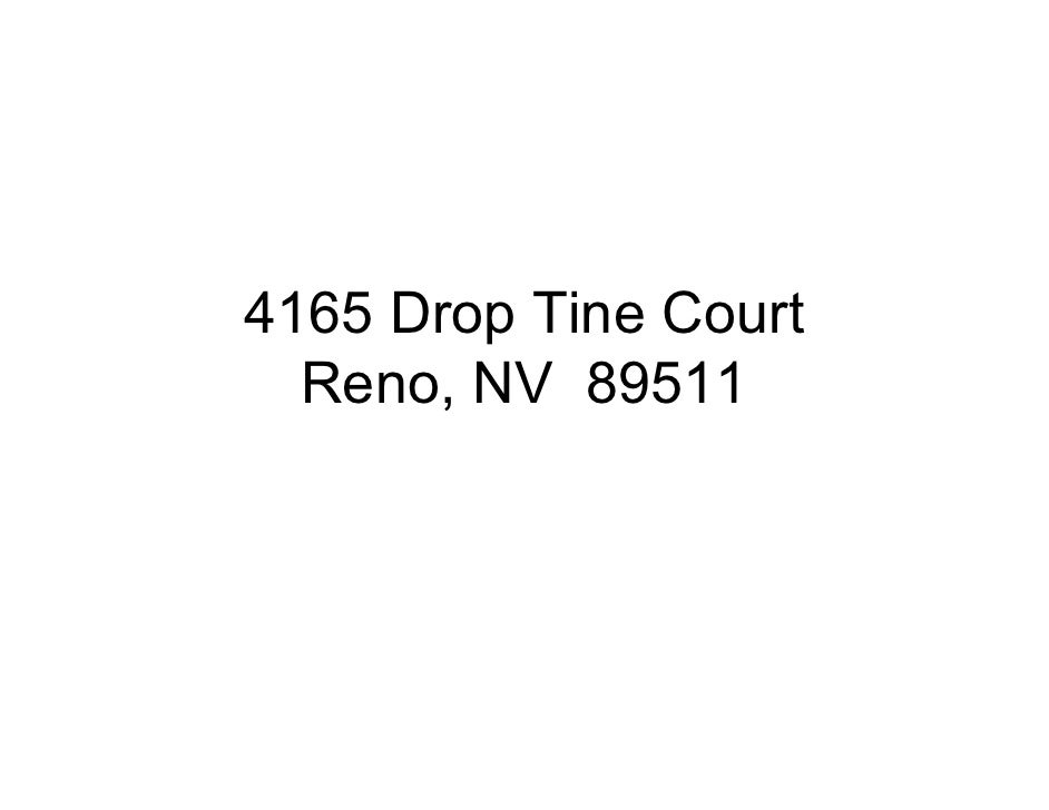 4165 Drop Tine Court   Reno, NV 89511
