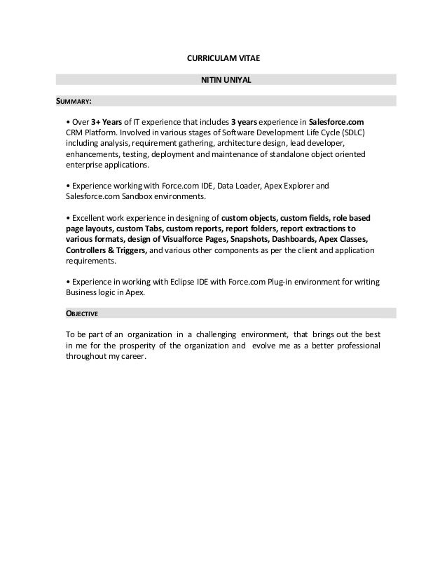 Resume. CURRICULAM VITAE NITIN UNIYAL SUMMARY: U2022 Over 3+ Years Of IT  Experience That Includes ...