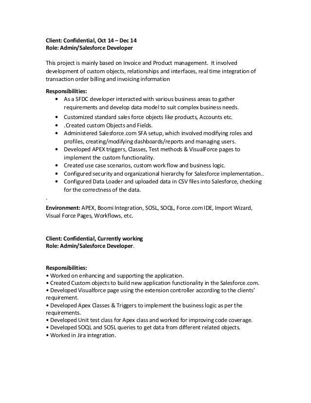 resume salesforce developer