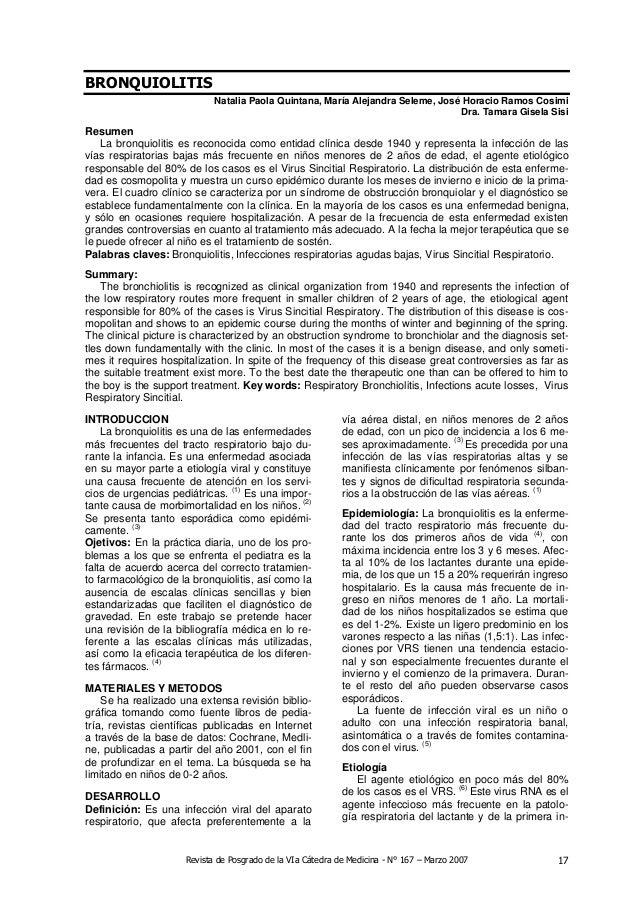 Revista de Posgrado de la VIa Cátedra de Medicina - N° 167 – Marzo 2007 17BRONQUIOLITISNatalia Paola Quintana, María Aleja...