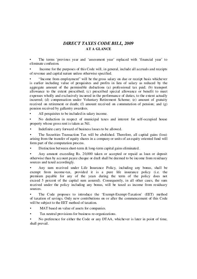 DIRECT TAXES CODE BILL, 2009                                       AT A GLANCE•     The terms 'previous year and 'assessme...