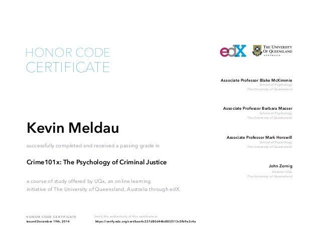 Psychology of Criminal Justice - University of Queensland
