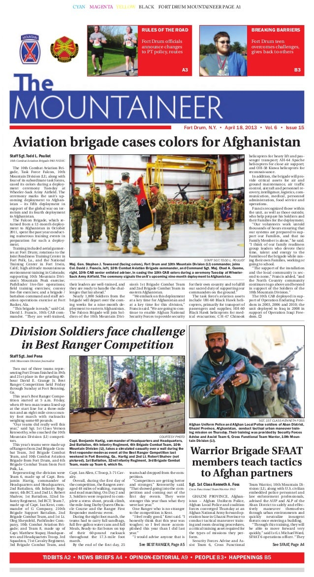 CYAN MAGENTA YELLOW BLACK FORT DRUM MOUNTAINEER PAGE A1BREAKING BARRIERSFort Drum teenovercomes challenges,gives back to o...
