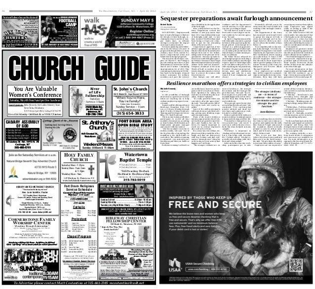 April 18, 2013 • The Mountaineer, Fort Drum, N.Y. A7Sequester preparations await furlough announcementRobert DozierU.S. Ar...