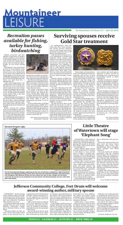 The Mountaineer, Fort Drum, N.Y. • April 18, 2013PEOPLE B3 •CALENDAR B5 • ACTIVITIES B5 • MOVIE TIMES B5Surviving spouses ...