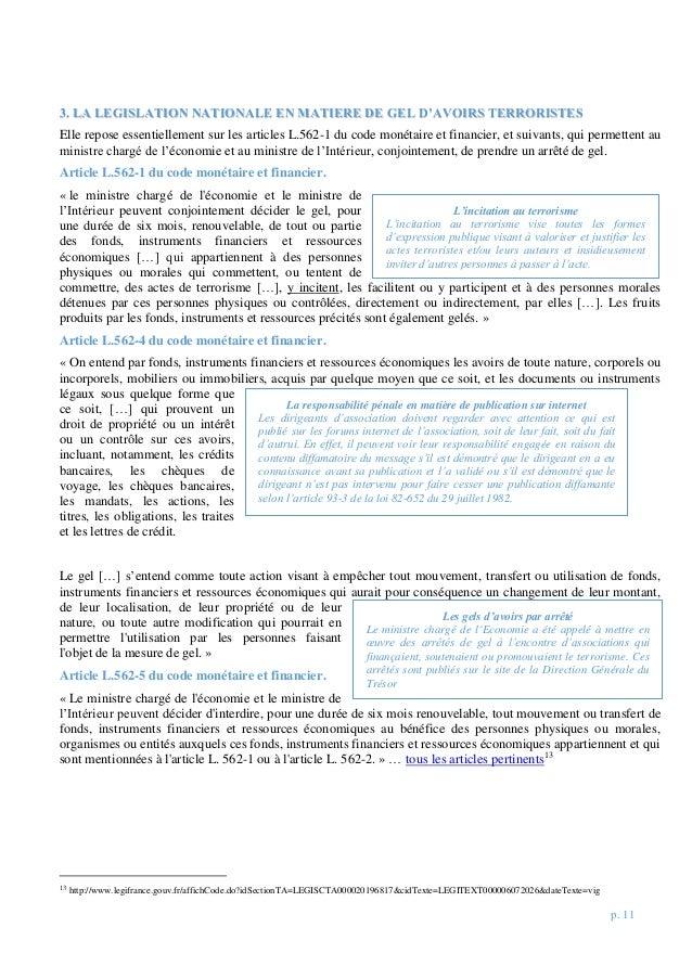 p. 11 33.. LLAA LLEEGGIISSLLAATTIIOONN NNAATTIIOONNAALLEE EENN MMAATTIIEERREE DDEE GGEELL DD''AAVVOOIIRRSS TTEERRRROORRIIS...