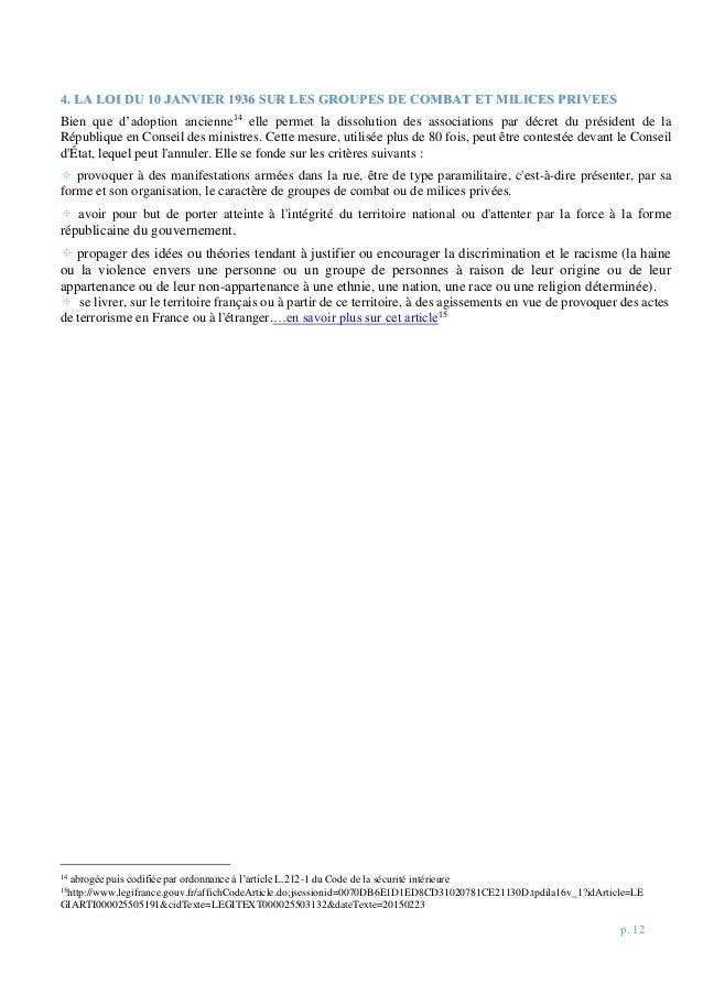 p. 12 44.. LLAA LLOOII DDUU 1100 JJAANNVVIIEERR 11993366 SSUURR LLEESS GGRROOUUPPEESS DDEE CCOOMMBBAATT EETT MMIILLIICCEES...