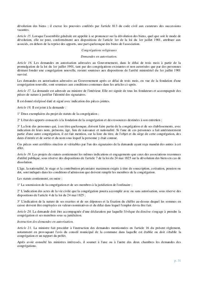 p. 31 dévolution des biens ; il exerce les pouvoirs conférés par l'article 813 du code civil aux curateurs des successions...