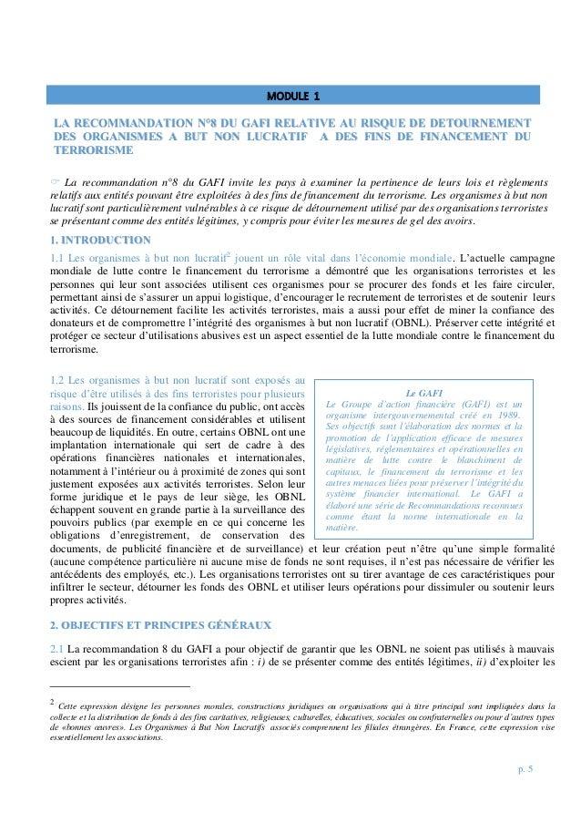 p. 5  La recommandation n°8 du GAFI invite les pays à examiner la pertinence de leurs lois et règlements relatifs aux ent...