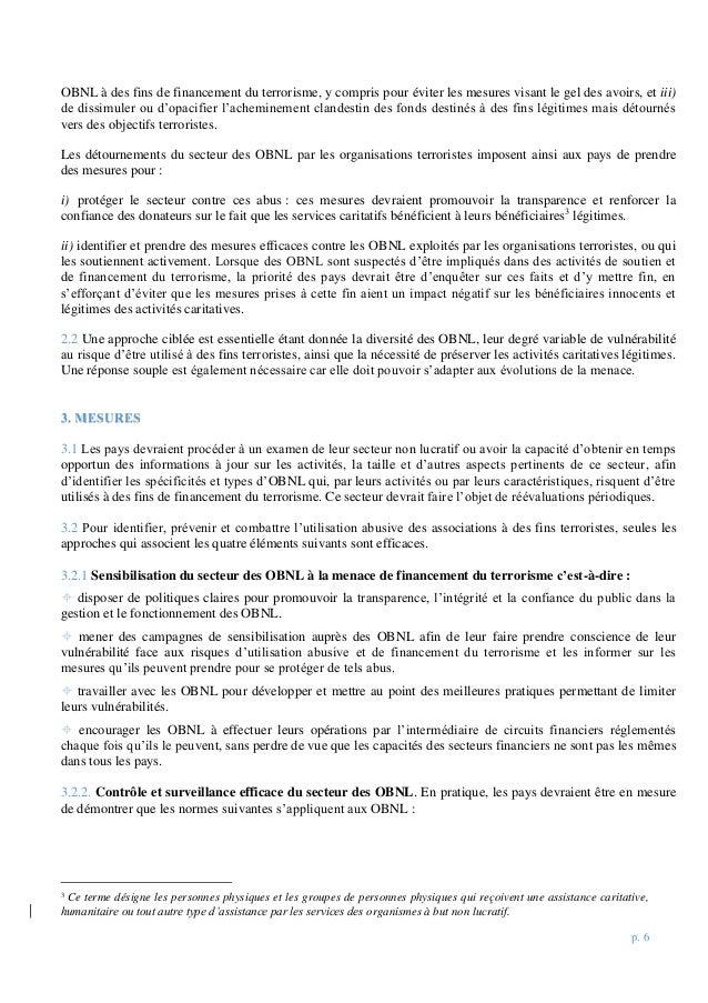 p. 6 OBNL à des fins de financement du terrorisme, y compris pour éviter les mesures visant le gel des avoirs, et iii) de ...