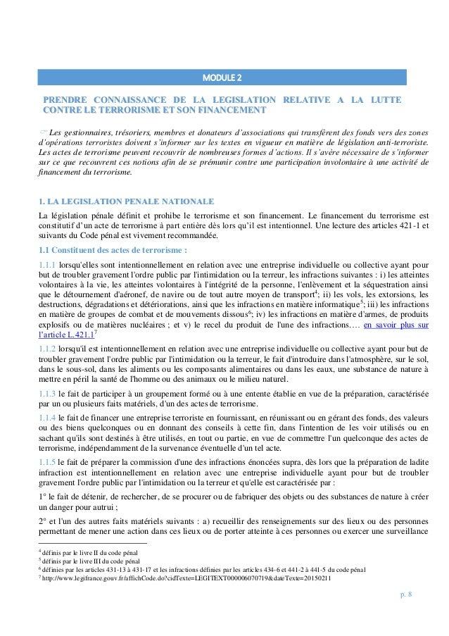 p. 8  Les gestionnaires, trésoriers, membres et donateurs d'associations qui transfèrent des fonds vers des zones d'opéra...