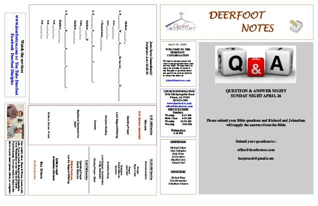 DEERFOOTDEERFOOTDEERFOOTDEERFOOT NOTESNOTESNOTESNOTES April 19, 2020 WELCOME TO THE DEERFOOT CONGREGATION We want to exten...