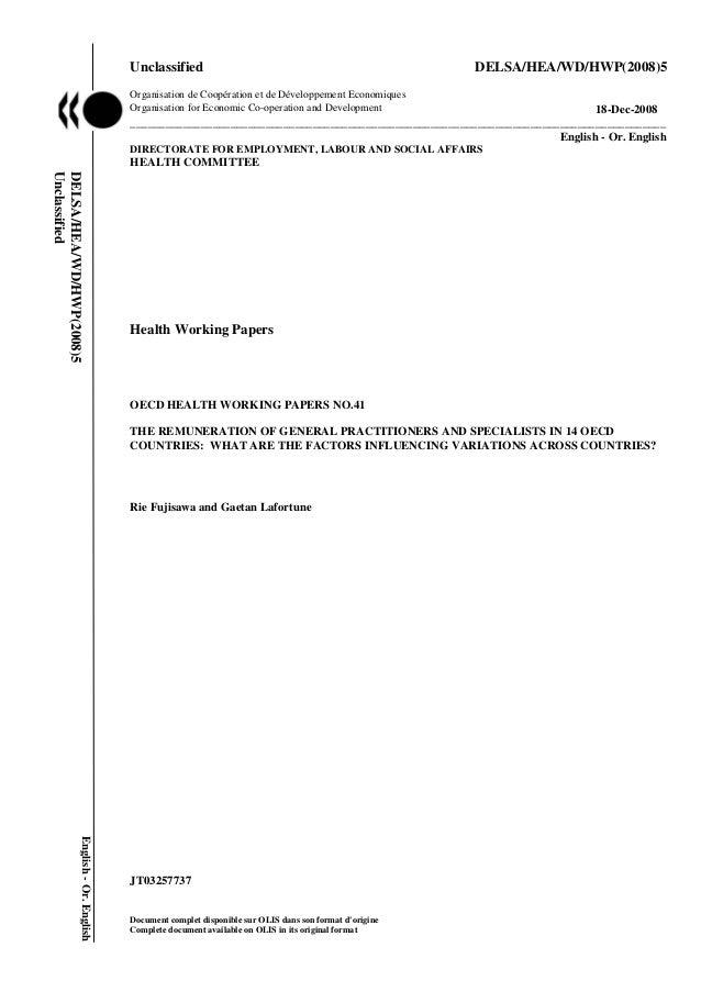 Unclassified DELSA/HEA/WD/HWP(2008)5Organisation de Coopération et de Développement EconomiquesOrganisation for Economic C...