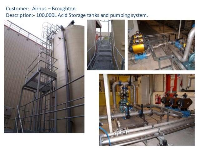 Customer:- Airbus – Broughton Description:- 100,000L Acid Storage tanks and pumping system.