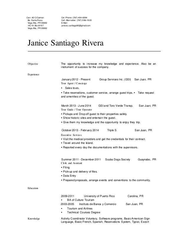 janice santiago profesional resume