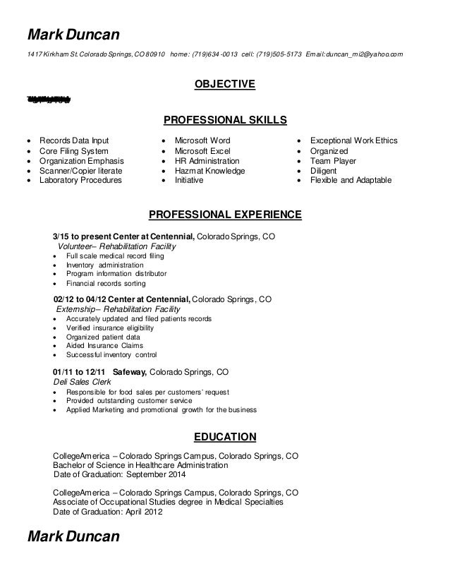 Completed Admin Resume (Medical Records Clerk)