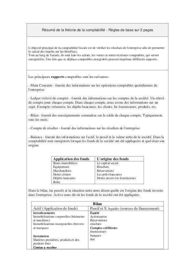 Résumé de la théorie de la comptabilité - Règles de base sur 2 pages L'objectif principal de la comptabilité fiscale est d...