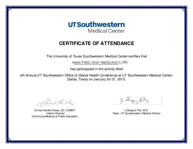 Certificate Of Attendance Global Health Conference Signed