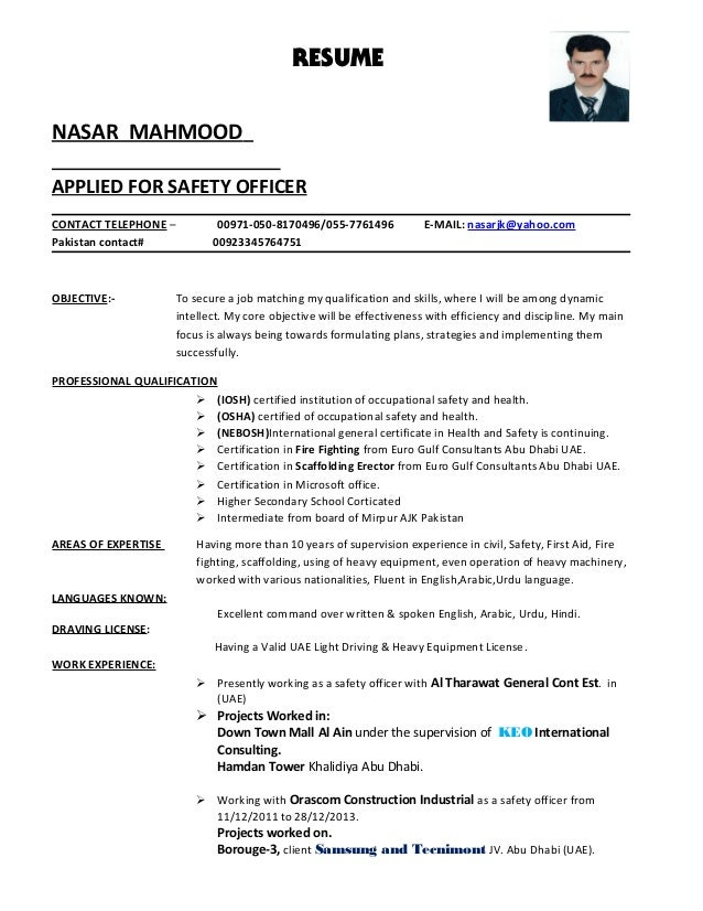 nasar safety cv