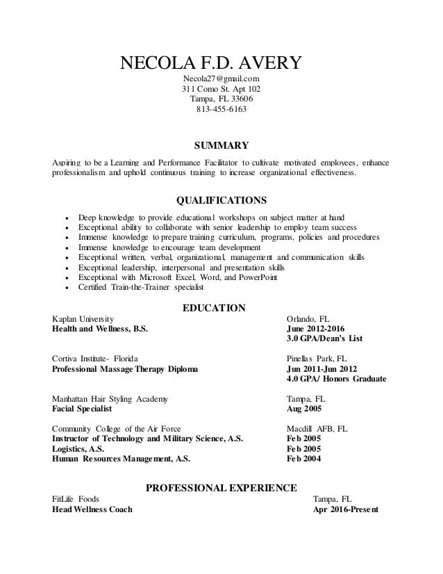 Necola Avery Facilitator Resume