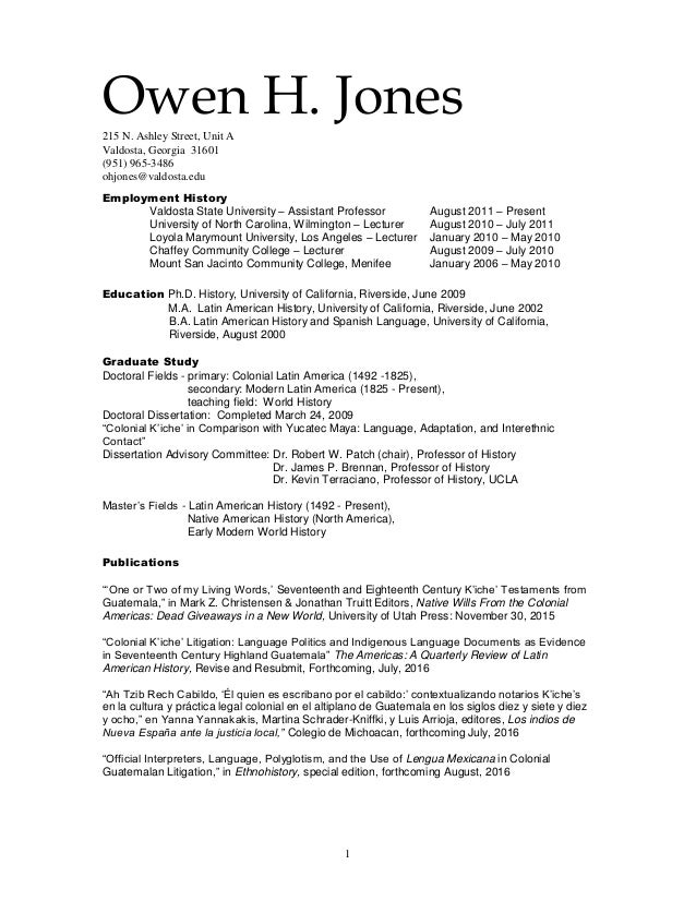 curriculum vitae april 2016 without references 1 owen h jones215 n ashley street unit a valdosta georgia 31601