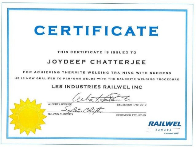 Railwel Canada Calorite Welding Process Certificate