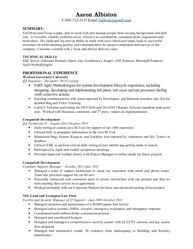 aaron albiston qa director resume aaron albiston c 801 712 3137 email tallbuckgmailcom summary qa - Quality Assurance Manager Resume Sample